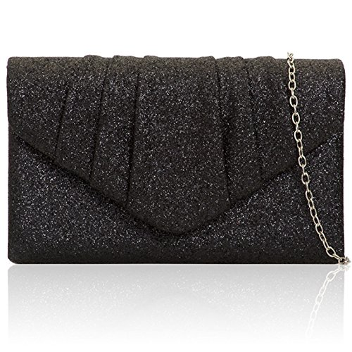 Xardi London - Clutch in finta pelle scamosciata Black Glitter