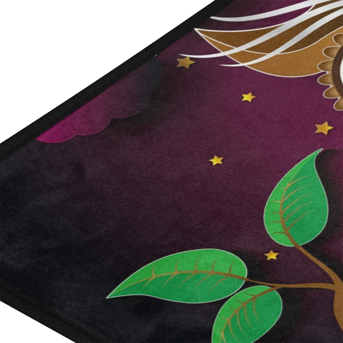 Mnsruu Tapis de Cuisine Hibou /à Suspendre avec Motif de Lune paillasson antid/érapant pour Plancher Tapis de Cuisine Tapis de Sol pour Tapis de Bain 99 X 50.8CM