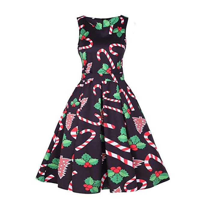 Hongxin Women Cotton Christmas Candy Print 50s 60s Vintage Dress Sleeveless Elegant Christmas Party Vestidos Sundress