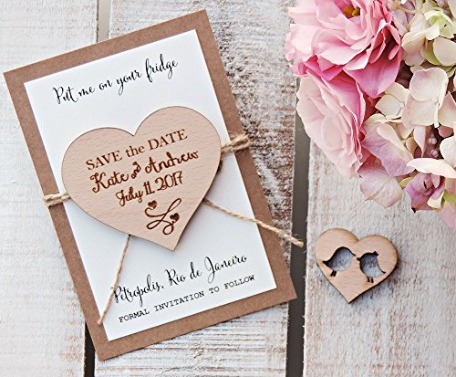 (Wedding Wood Save-the-Date Magnet, Custom Heart Save-The-Date Magnet, Heart Wood Magnet, Heart Magnet, Wooden Magnet, Save The Date Magnet, Wooden Save The Date Magnet, Rustic Save The Date)