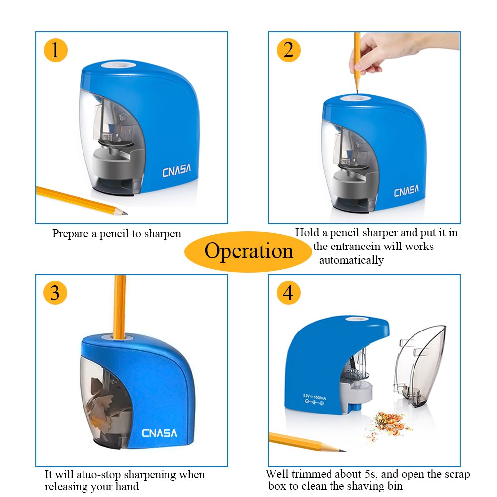 Electric Powerful Pencil Sharpener ,CNASA Compact Automatic 2B Pencil Colored Pencil Cutting Machine Sharpening 1500times AC/DC Power or AA Battery(Exclude) Stationery Tool for School Office Painting