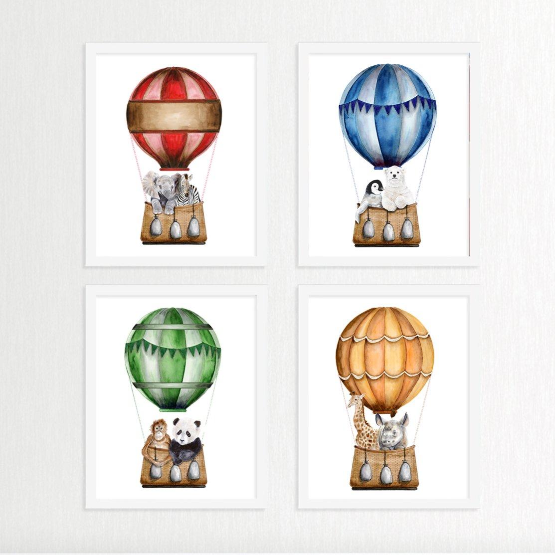 Amazon Com Hot Air Balloon Print Set Nursery Prints Hot Air