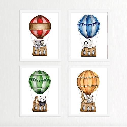 Amazoncom Hot Air Balloon Print Set Nursery Prints Hot Air