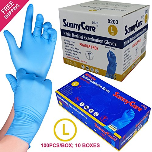SunnyCare #8203 1000/1cases Blue Color Nitrile Medical Exam Gloves Powder Free (Latex Vinyl Free) Large