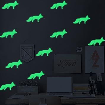 2 Unids Luminoso Tallado DIY Pequeño Zorro Calcomanías De Estilo Nórdico De Dibujos Animados Niños Dormitorio De Cabecera Pegatinas De Pared: Amazon.es: ...