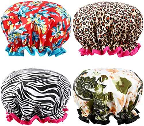 Shower Cap, ESARORA 4 PACK Bath Cap Designed for Women Waterproof Double Layer-Large Enough for Most Hair Lengths and Thicknesses(12 x 11 x 3 Inch)
