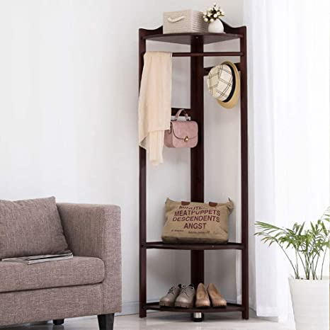 Amazon.com: Wooden Coat Rack Floor Bedroom Hanger Corner ...