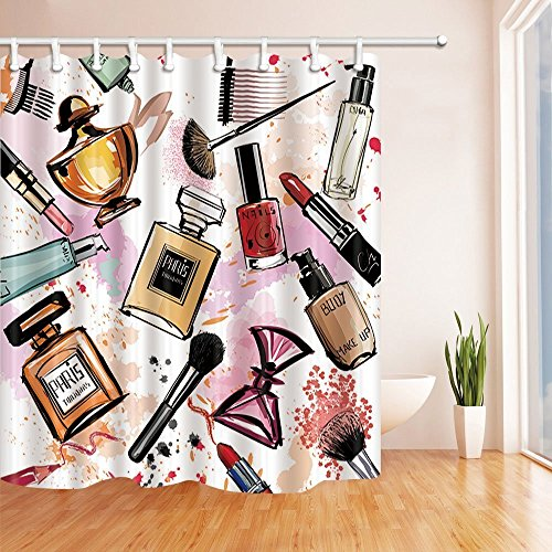 Girl Decor Perfum and Lipstick Make up Shower Curtains Polyester Fabric Waterproof Bath Curtain 70.8X70.8 in Shower Curtain Hooks Included (Diva Shower Curtain)