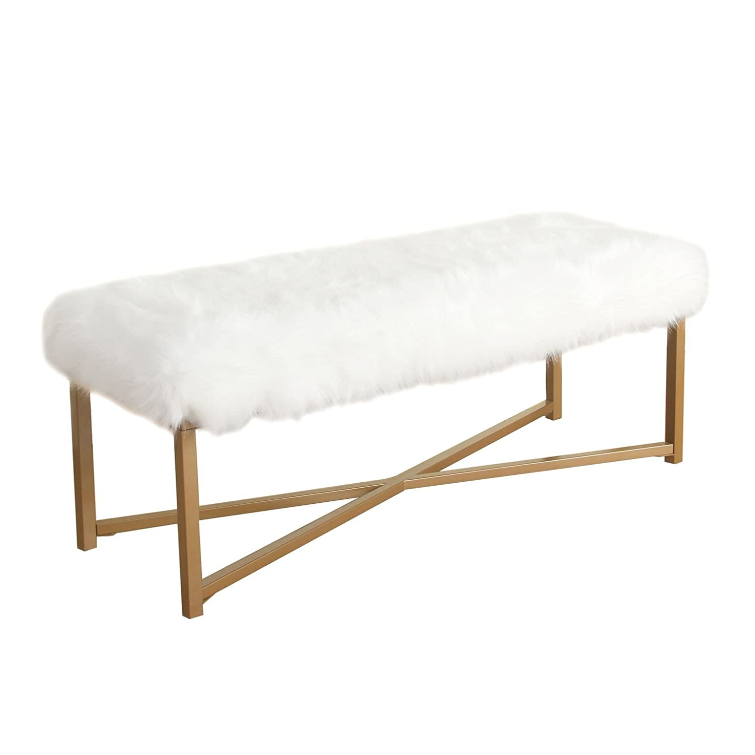 HomePop Round Faux Fur Stool, White Kinfine K7224-B227