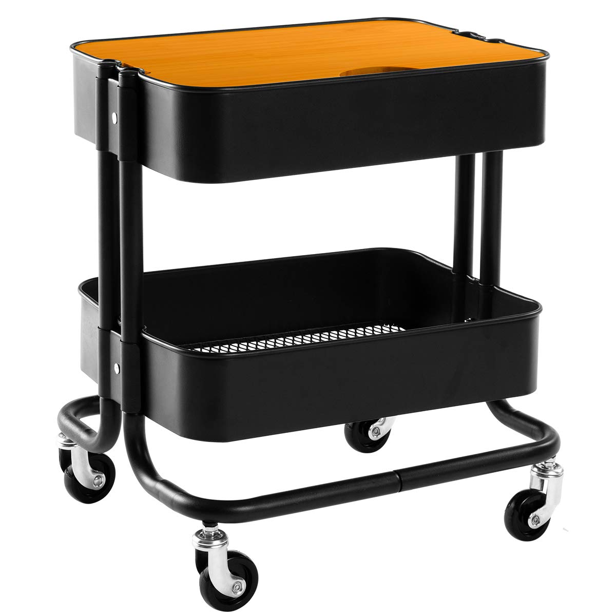 HollyHOME 2-Tier Metal Utility Service Cart Rolling Storage Shelves with Planks, Black Movable Storage Utility Cart