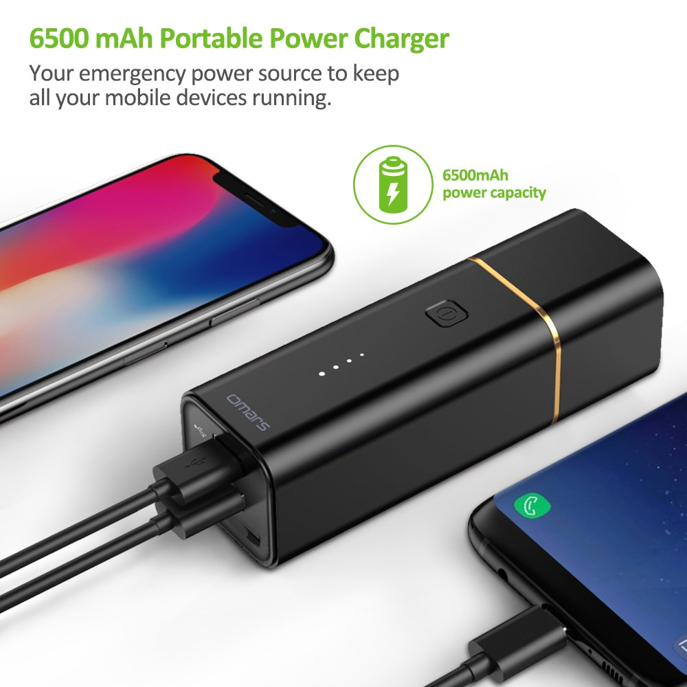 OMARS 6500mAh Power Bank with SD Card Reader, Detachable USB Power Adapter/Charger and US to UK Adapter, Data Transfer/Backup up to 8 MB/s for Android, iOS devices
