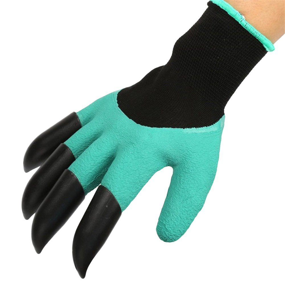 TOPBeauty 1 Pair ABS Plastic Claws Gardening Gloves for Latex Digging & Planting Nursery Plants
