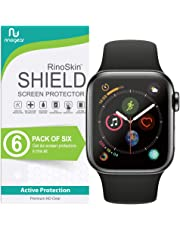 [6-Pack] RinoGear for Apple Watch Screen Protector 44mm (Series 4) [Easy Install: NO Lifting Edges] Flexible Screen Protector for Apple Watch 44mm HD Crystal Clear Anti-Bubble Film