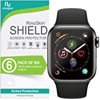 [6-Pack] RinoGear for Apple Watch Screen Protector 44mm (Series 4) [Advanced Install: Full Coverage] Flexible Screen Protector for Apple Watch 44mm HD Crystal Clear Anti-Bubble Film