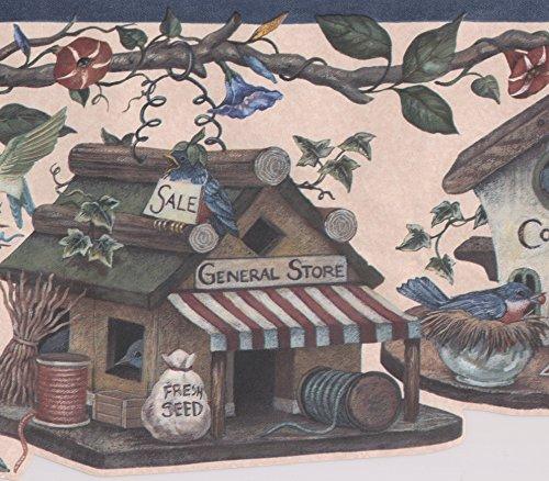 Birdhouses Flowers on Vine Birds Vintage Wide Wallpaper Border Retro Design, Roll 15' x 9'' ()