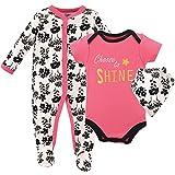 Luvable Friends Baby Sleeper, Bodysuit and Bandana Bib Set, Choose to Shine, 0-3 Months (3M)
