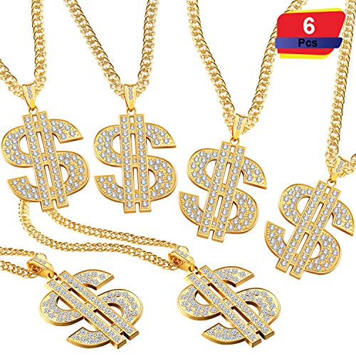 6 Pieces Gold Plated Chain Dollar Necklace for Men with Dollar Sign Pendant Necklace, Hip Hop Dollar Necklace (Dollar Necklace 6 Pieces)