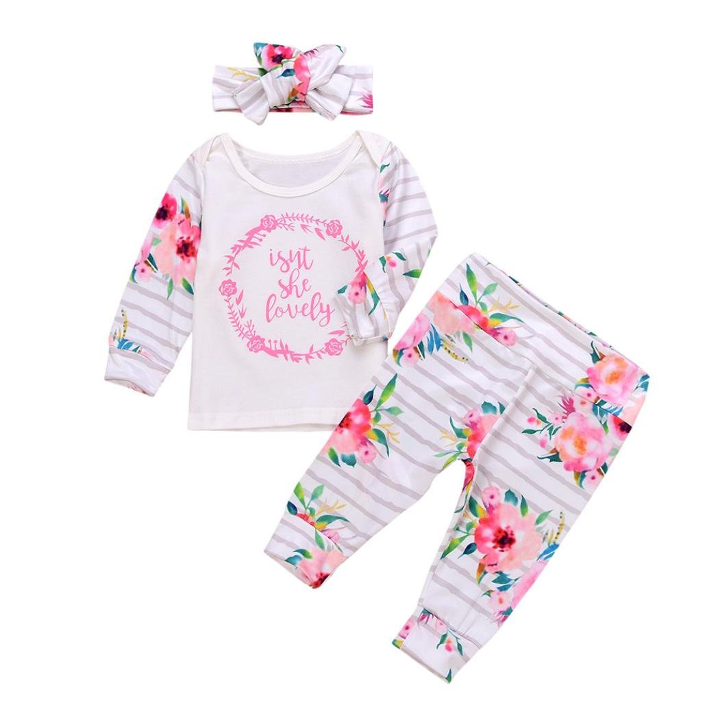 3pcs/Set Newborn Toddler Baby Girls Flower Long Sleeve Outfits Clothes Tops+Pants