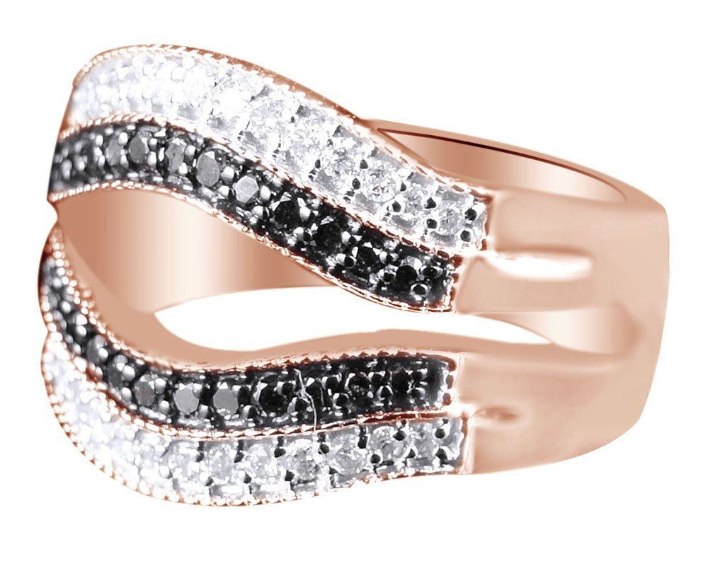 Black Natural Diamond Solitaire Ring Jacket Band Ring In 10k Rose Gold (0.55 Cttw) Ring Size-6 by AFFY