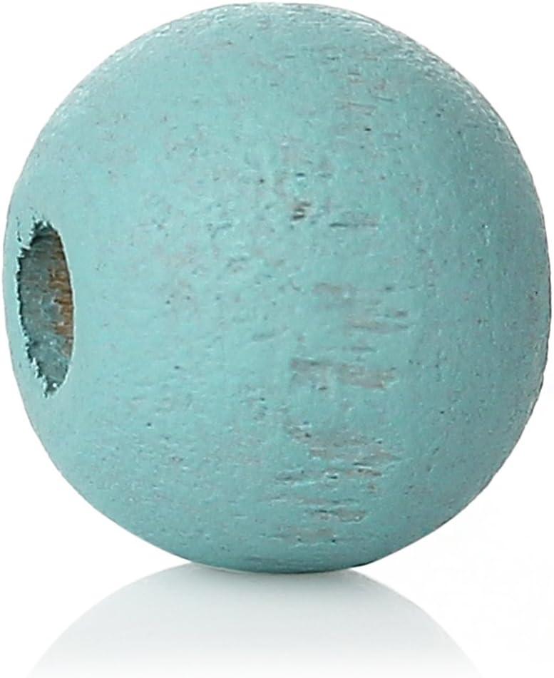 SiAura Material ® - 1000 cuentas de madera de 6 mm con agujero de 2,1 mm, redondas, color azul celeste para manualidades.