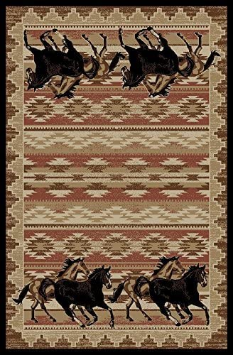 Rustic Lodge Great Plains Horse 8×10 Red Area Rug