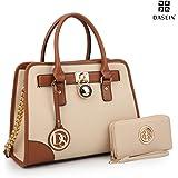 Dasein Women's Designer Handbags Padlock Belted Satchel Bags Top Handle Handbag Purse Shoulder Bag w/ Matching Wallet