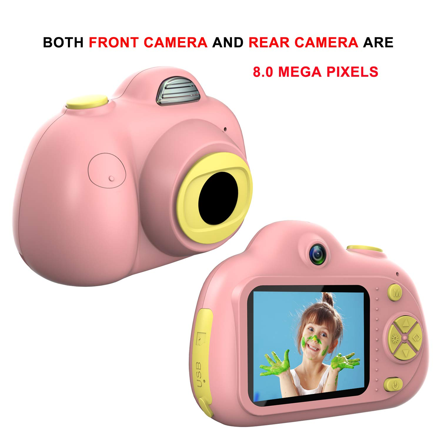 Kids Camera, Dual Cameras 8MP Rechargeable 1080p HD Kids Video Cameras Shockproof Kids Digital Cameras - Best Gift for 4-10 Years Old Girls Boys Party Outdoor Play 16GB TF Card Included (Pink) by Egoelife (Image #2)