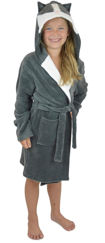 Lora Dora Girls Racoon Dressing Gown Hooded Bath Robe Shoe Directory
