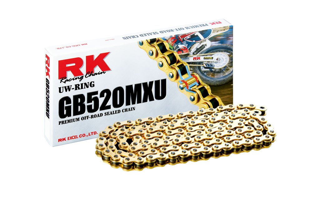 RK Racing Chain GB520MXU-102 Gold 102-Links UW-Ring Chain with Connecting Link by RK Racing Chain