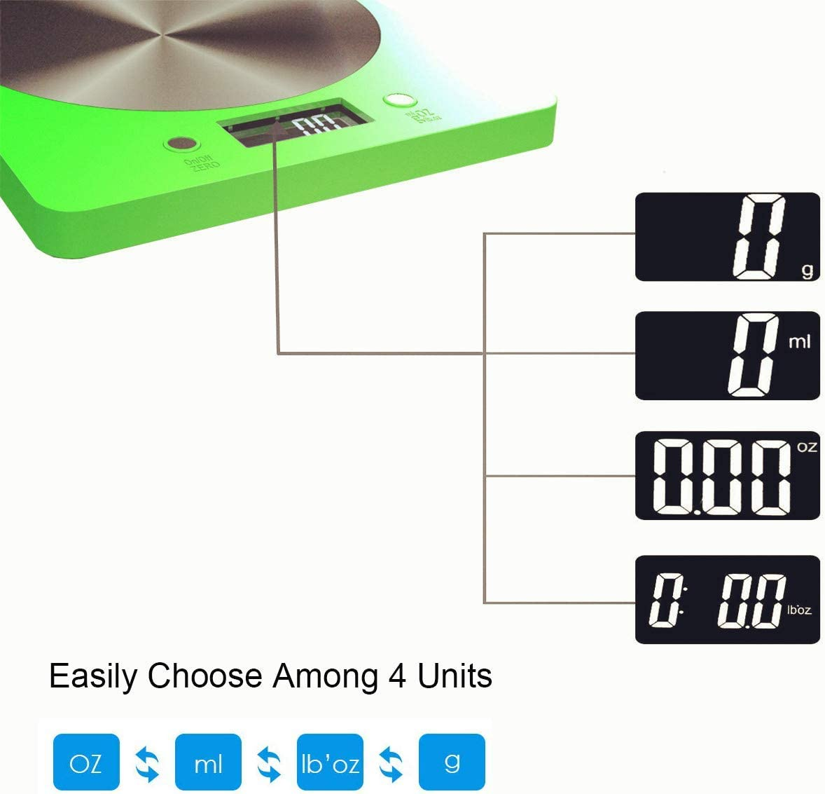 Pjp Electronis Kitchen Scale, Digital Food Weighting Scale 11lb/5000g Scale Black Green