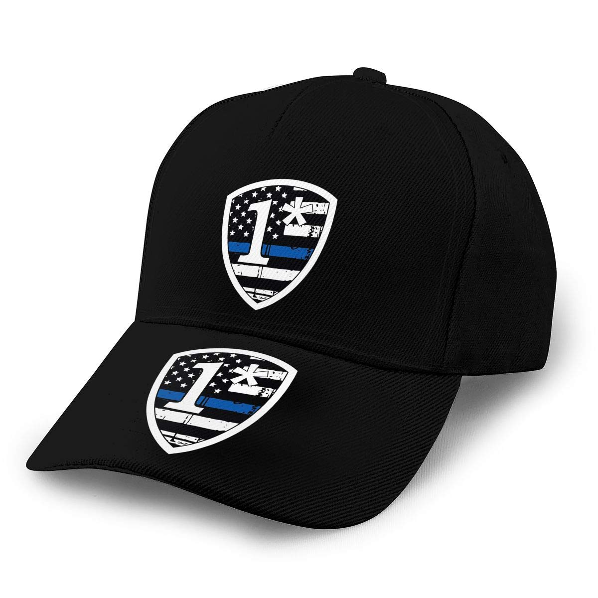 Thin Blue Line Tattered Flag 1 Asterisk Unisex Adult Hats Classic Baseball Caps Peaked Cap
