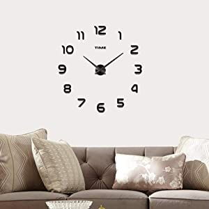 Kurtzy DIY Clock Designer Creative Wall Stickers Removable Home Art Decor for Living Bed Room Kitchen Office Black