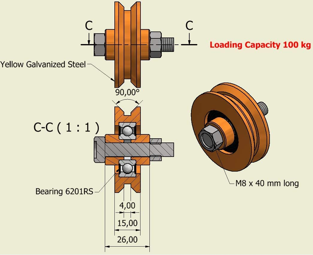 50 mm Diameter - 8 mm Shaft Pack of 2 Sliding gate Wheels Pulley Wheels V Groove Steel Wheels Made in The EU V50-8