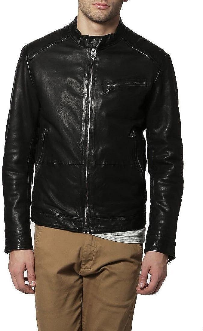 brandMe Mens Genuine Leather Pure Lambskin Biker Jacket MM075