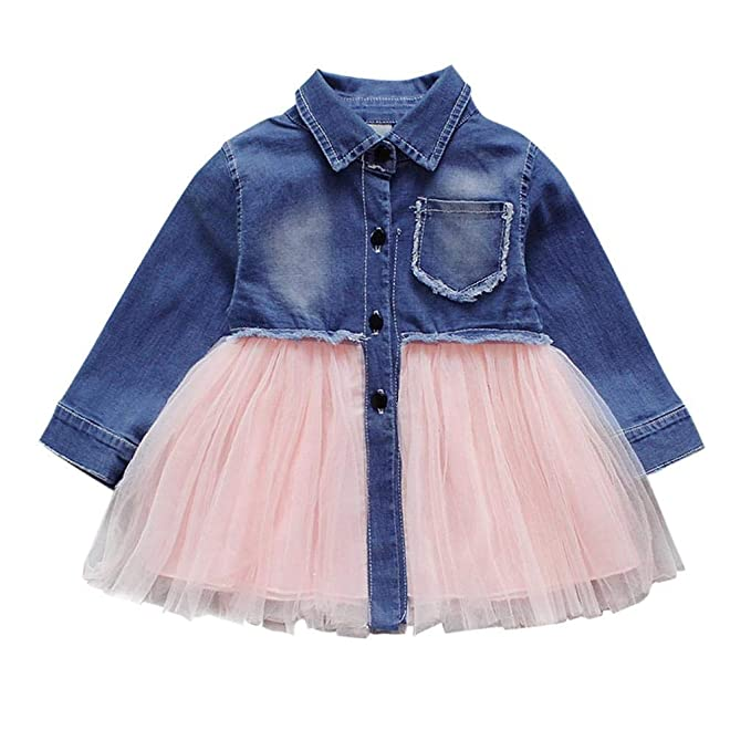 SHOBDW Good Material Toddler Infant Baby Girls Clothes Fashion Denim Tutu Tulle Princess Long Sleeve Summer Dresses Outfits Girls Dresses