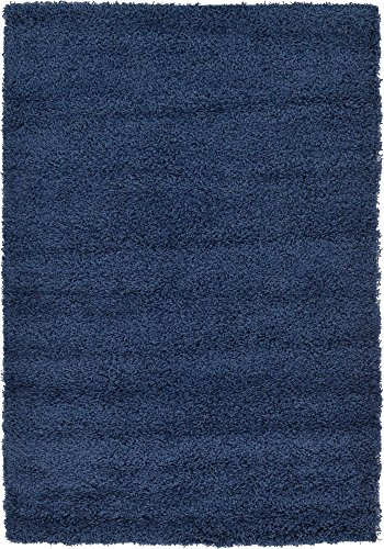 Unique Loom Solo Solid Shag Collection Modern Plush Navy Blue Area Rug (4' 0 x 6' 0)