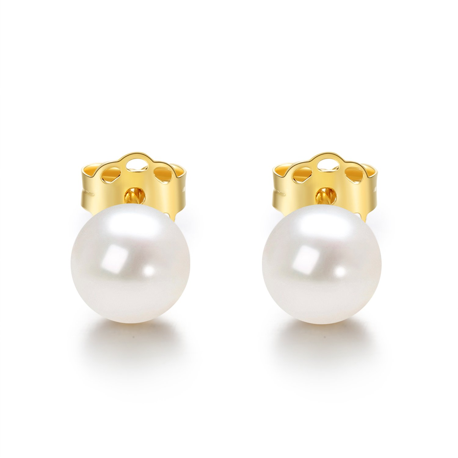 14K Gold AAA+ Handpicked Round Freshwater Cultured White Pearl Stud Earrings for Women Girls (yellow-gold, 5.5-6mm) by JORA (Image #5)