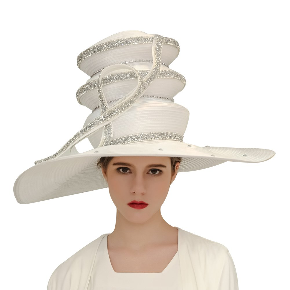 Kueeni Women Hats Church Hats for Wedding Mother of Bride Hats Silver (White)