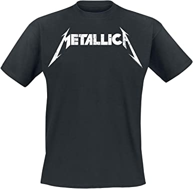 Metallica Textured Logo Hombre Camiseta Negro, Regular: Amazon.es: Ropa y accesorios