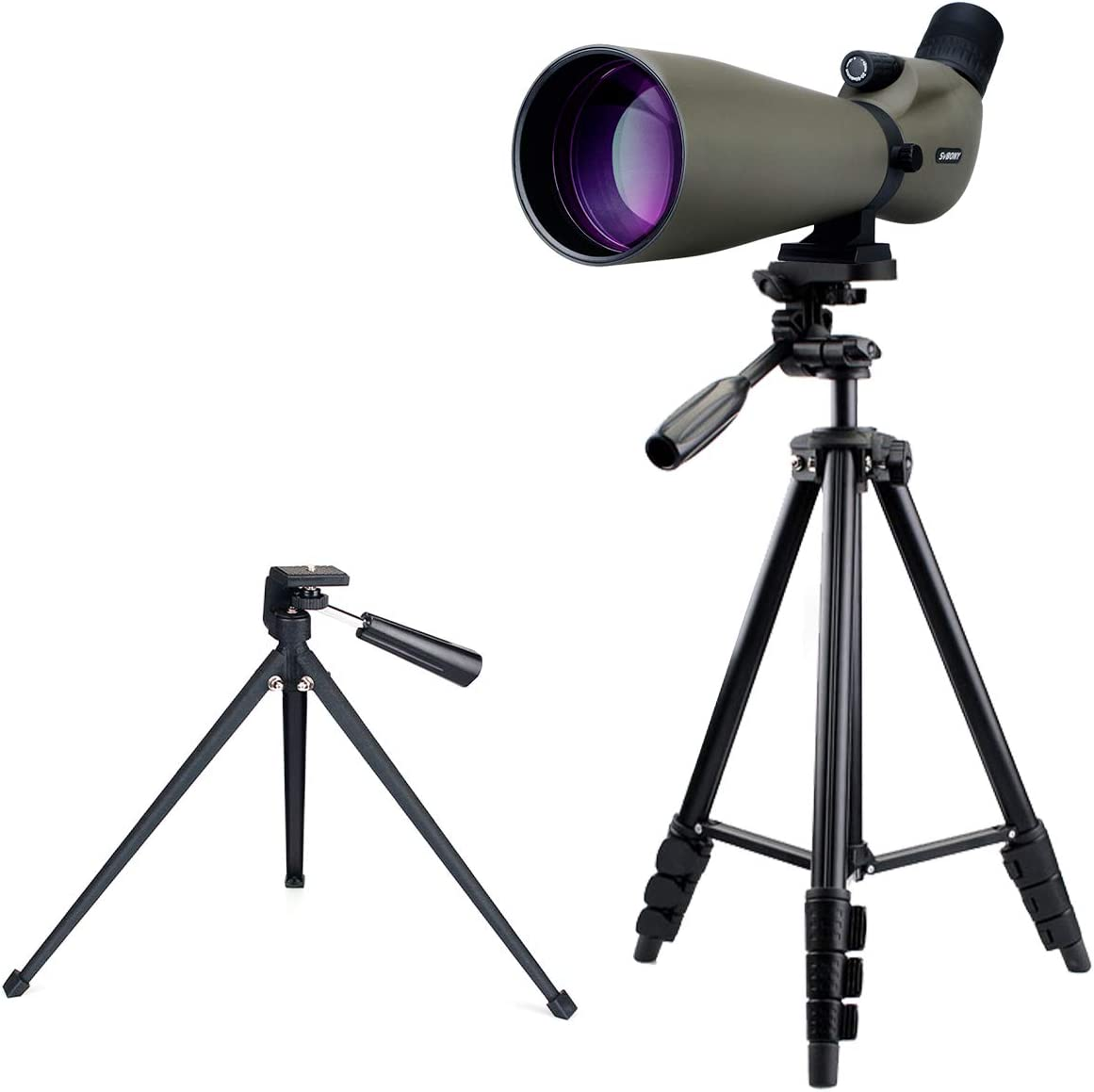 SVBONY SV401 Spotting Scope with Tripod IPX6 Waterproof 20-60x80mm 45 Degree Angled Eyepiece Prism FMC Coated Optical Lens for Target Shooting Bird Watching