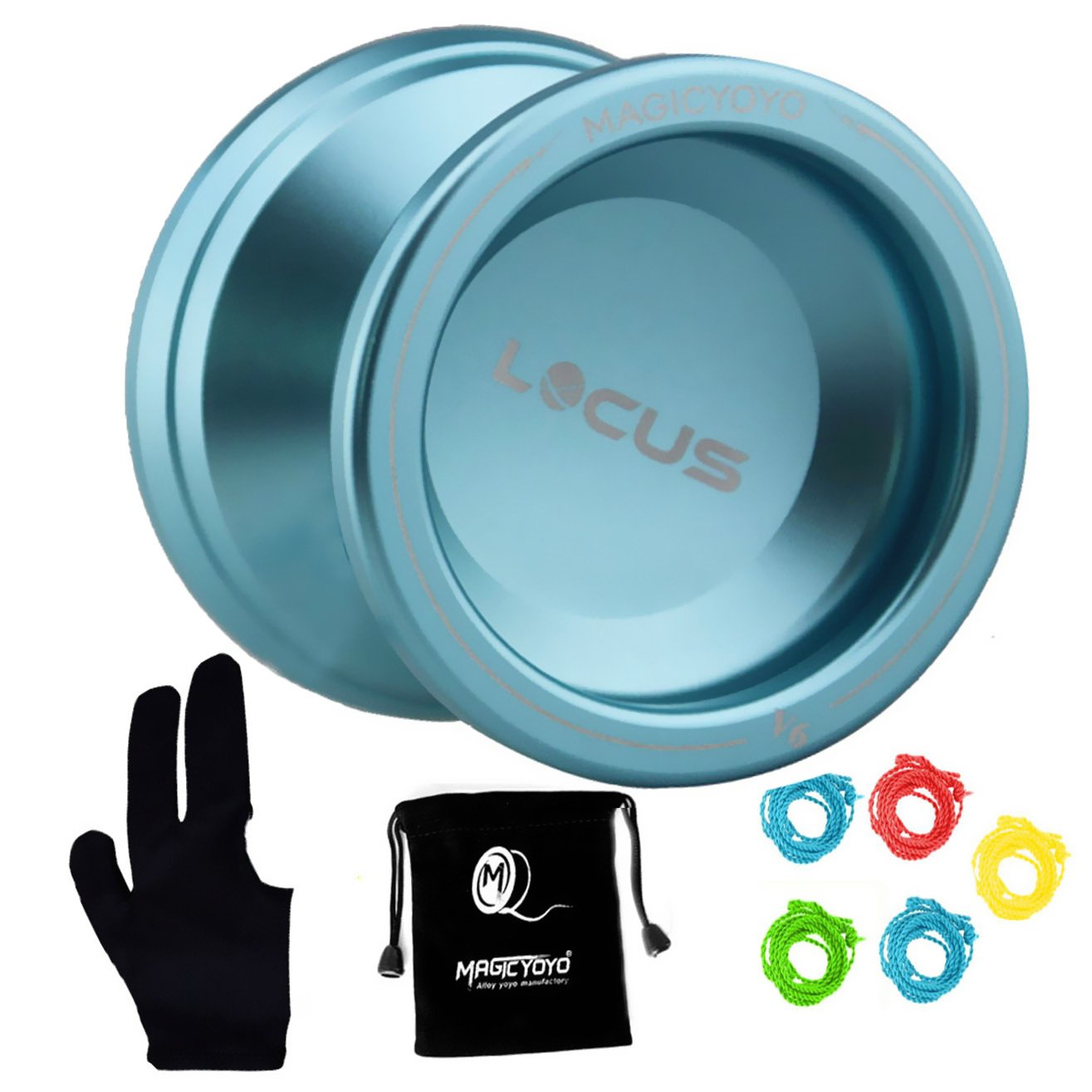 MAGICYOYO Responsive V6 Locus Aluminum YoYo Kids Beginner Learner Yoyo Bag, Yoyo Glove 5 Spinning Strings -Blue