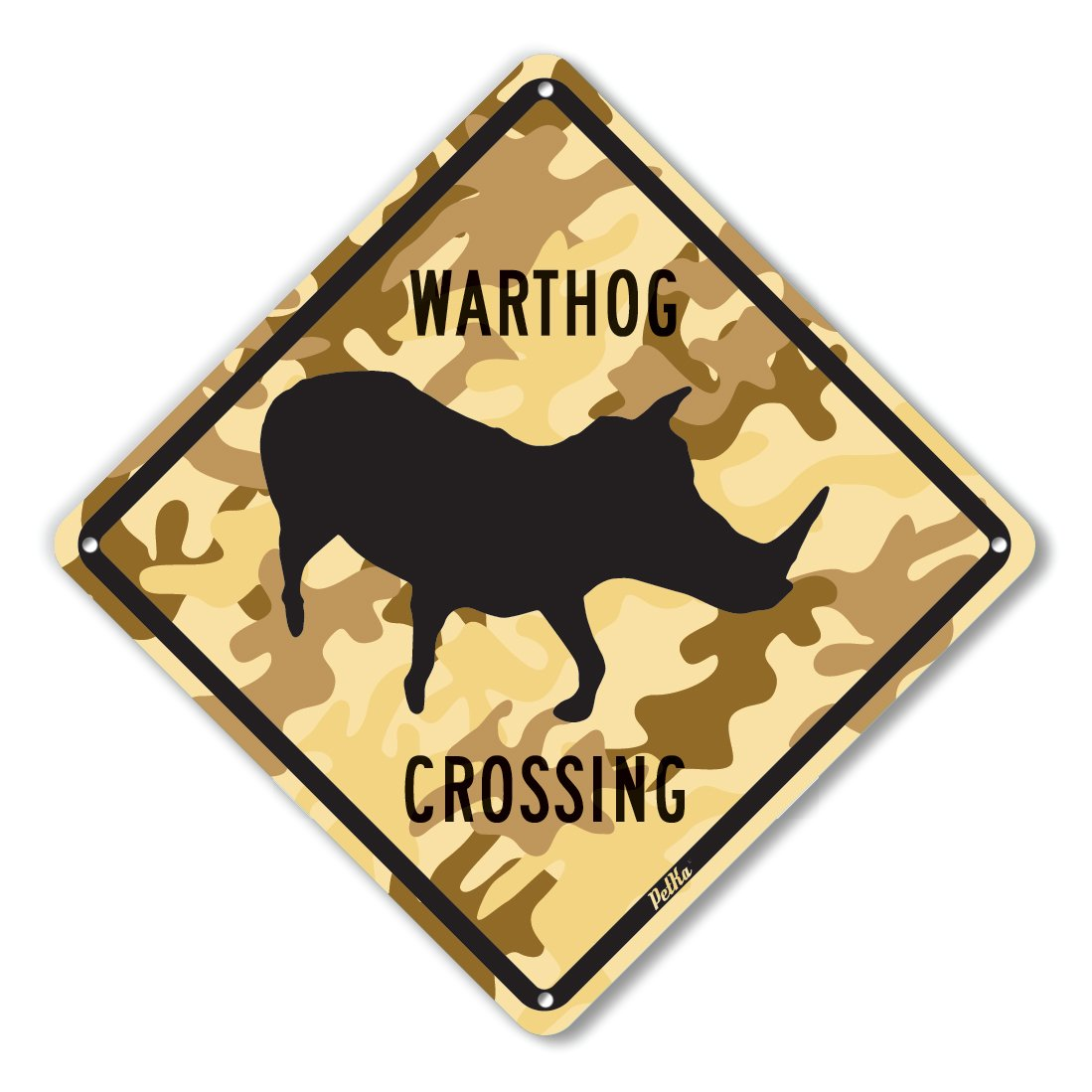 PetKa Signs and Graphics PKAC-0055-NA/_10x10Warthog Crossing Aluminum Sign 10 x 10 Black on Desert Camo