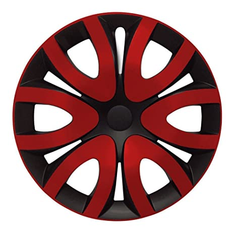 Tapacubos – Tapacubos Tapacubos Mika Negro de color rojo bicolor con anillo cromado 15 pulgadas