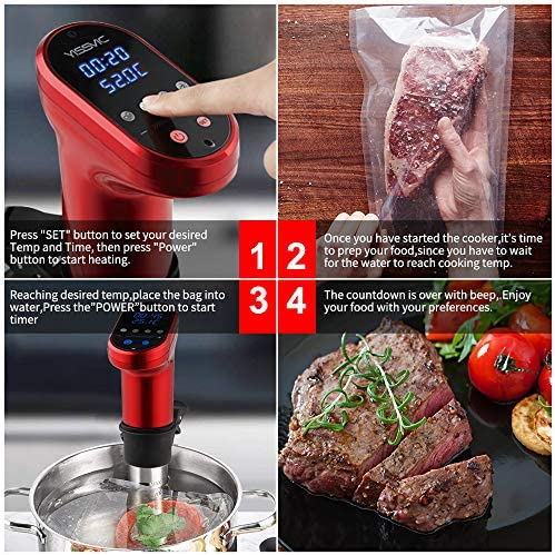 YISSVIC Sous Vide Precision Cooker Machine 1200W Immersion Sous Vide Circulator Water Bath with Accurate Temperature 5-95°C and Time Control for Healthy Eating
