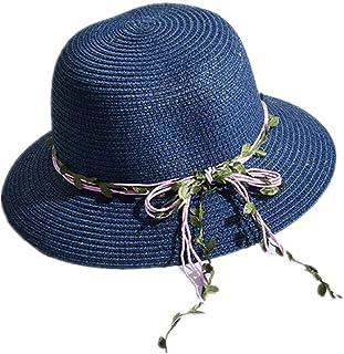 Hksfnsj Gorro de Sol para Mujer con Borde Ancho para Damas para el Verano Protección UV Sombrero de Playa (Color : Navy, tamaño : Hat Side 7cm)