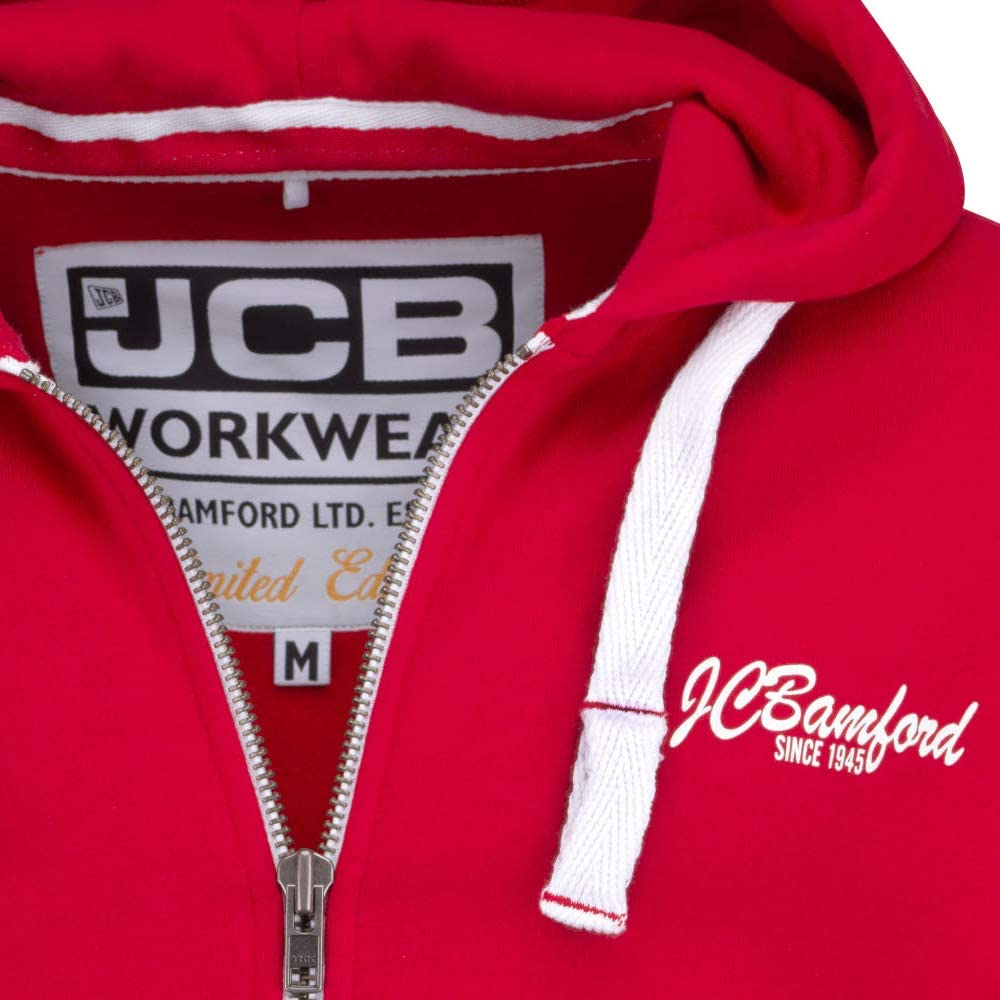 JCB Workwear Limited Edition Red Full Zip Hooded Top Work Wear Hoody M To XL
