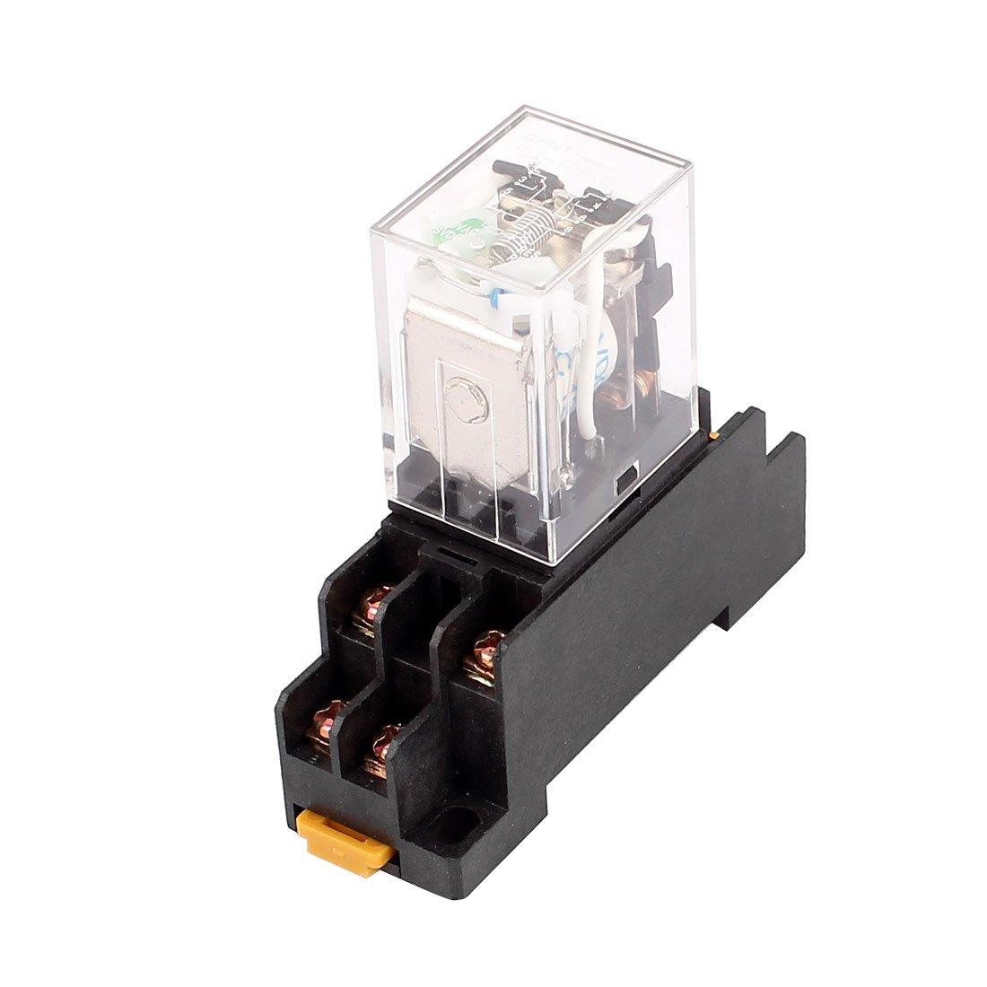 sourcingmap® DC 12V Coil DPDT 8broches électromagnétique Relais de puissance w Socket base SYNCTEA001128