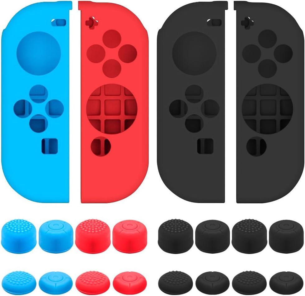 Senhai Funda Protectora para Nintendo Switch Joy-con con Tapa de Pulgar, Paquete de 2 Paquetes Anti-Deslizante de Silicona con 16 Almohadillas de Palo - Negro, Azul + Rojo: Amazon.es: Electrónica