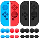 Protective Case for Nintendo Switch Joy-Con Controller with Thumb Caps, SENHAI 2 Pack Anti-slip Silicone Grips Covers with 16