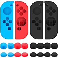 Protective Case for Nintendo Switch Joy-Con Controller with Thumb Caps, SENHAI 2 Pack Anti-slip Silicone Grips Covers…